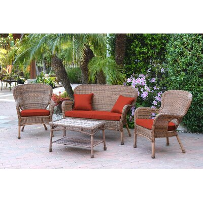 Bellas 4 Piece Wicker Conversation Seating Group with Cushions Fabric: Red, Frame Finish: Honey