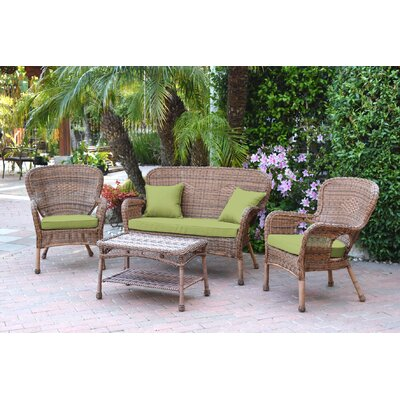 Bellas 4 Piece Wicker Conversation Seating Group with Cushions Fabric: Green, Frame Finish: Honey