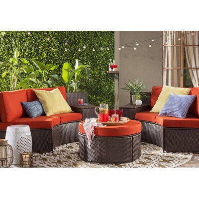 Cartagena 5 Piece Seating Group with Cushion Fabric: Red