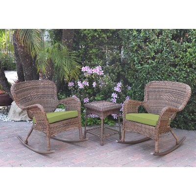 Windsor Wicker 3 Piece Rocker Seating Group with Cushions Fabric: Green, Frame Finish: Light Brown