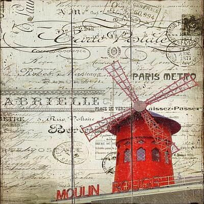 'Paris Windmill' Graphic Art Print on Wood