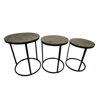 Helena Wood Top 3 Piece Nesting Tables