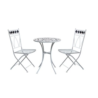 Rachele Patio 3 Piece Metal Bistro Set