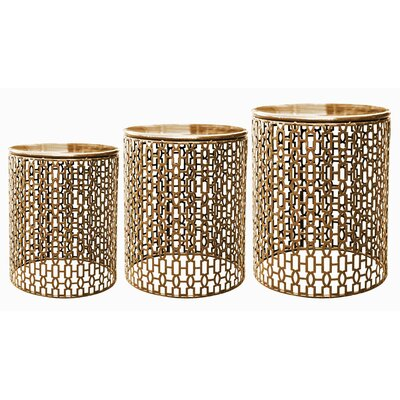 Hayworth 3 Piece End Table Set Color: Champagne