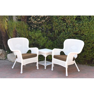 Windsor Wicker 3 Piece Lounge Seating Group with Cushions Fabric: Brown, Frame Finish: White