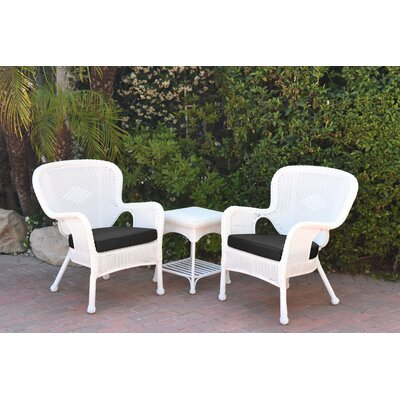Windsor Wicker 3 Piece Lounge Seating Group with Cushions Fabric: Black, Frame Finish: White