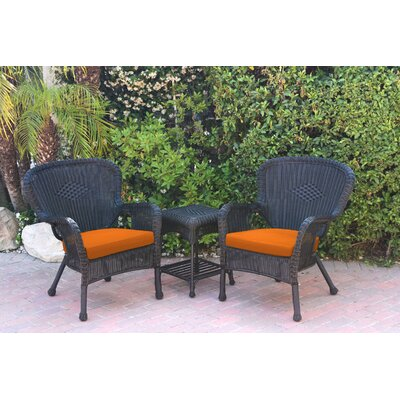 Windsor Wicker 3 Piece Lounge Seating Group with Cushions Fabric: Orange, Frame Finish: Black