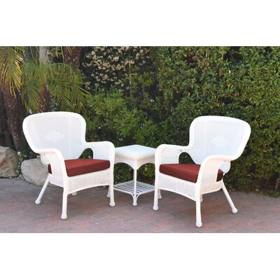 Windsor Wicker 3 Piece Lounge Seating Group with Cushions Fabric: Red Orange, Frame Finish: White