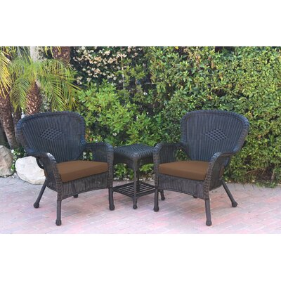 Windsor Wicker 3 Piece Lounge Seating Group with Cushions Fabric: Black, Frame Finish: Dark Brown