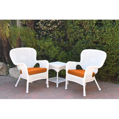 Windsor Wicker 3 Piece Lounge Seating Group with Cushions Fabric: Orange, Frame Finish: White