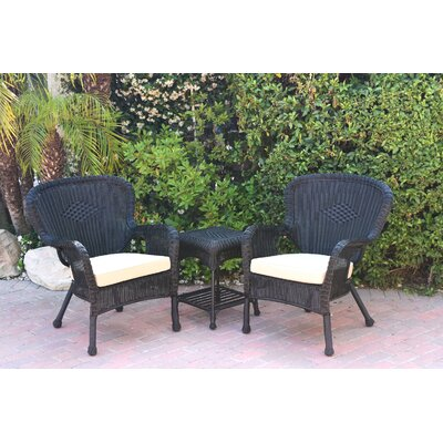 Windsor Wicker 3 Piece Lounge Seating Group with Cushions Fabric: Tan, Frame Finish: Black