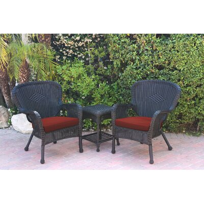 Windsor Wicker 3 Piece Lounge Seating Group with Cushions Frame Finish: Black, Fabric: Red Orange