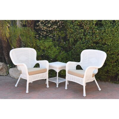 Windsor Wicker 3 Piece Lounge Seating Group with Cushions Fabric: Tan, Frame Finish: White