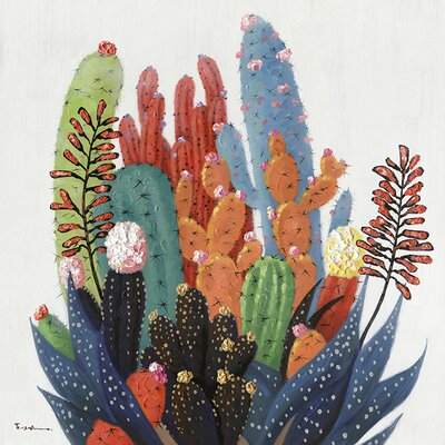 'Colorful Cactus' Oil Panting Print on Canvas