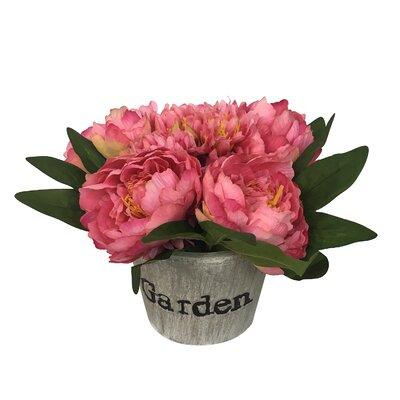 Peonies Floral Arrangement in Pot Flower Color: Red