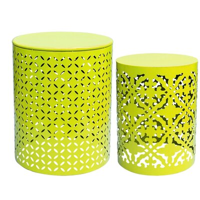 Azha Metal 2 Piece Nesting Table Color: Lime Green