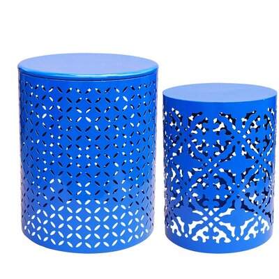 Azha Metal 2 Piece Nesting Table Color: Royal Blue