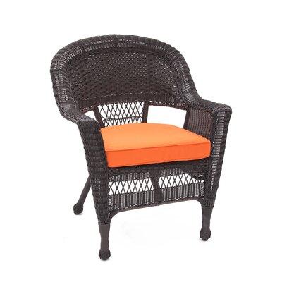 jeco Lounge Chair with Cushion (Set of 4) - Fabric: Orange, Finish: Espresso