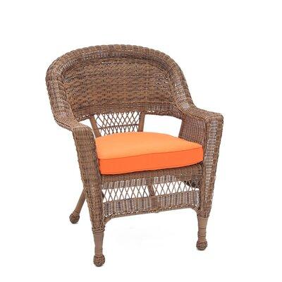 jeco Lounge Chair with Cushion (Set of 4) - Finish: Honey, Fabric: Orange