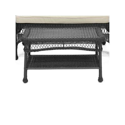 jeco Wicker Patio Furniture Coffee Table - Finish: Black