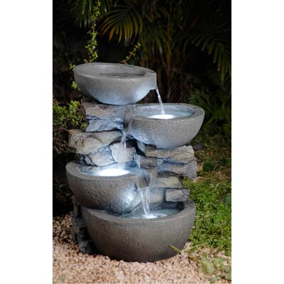 Jeco Inc. Resin/Fiberglass  Tiered Modern Bowls Fountain with LED Light