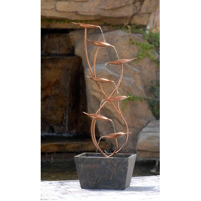 jeco Polyresin and Fiberglass Tiered Metal Leaves Water Fountain