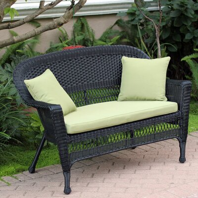 Loveseat with Cushions Fabric: Green, Finish: Black