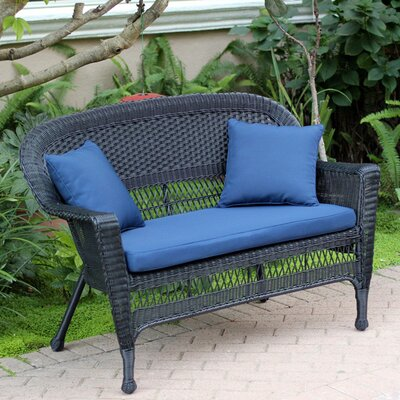 Loveseat with Cushions Fabric: Blue, Finish: Black