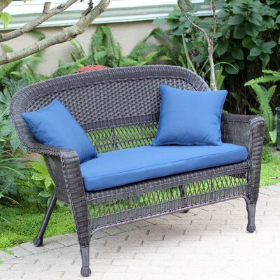 Loveseat with Cushions Finish: Espresso, Fabric: Blue