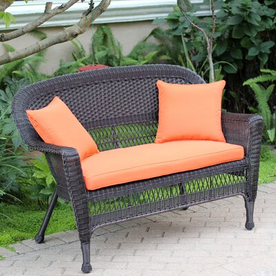 Loveseat with Cushions Finish: Espresso, Fabric: Orange