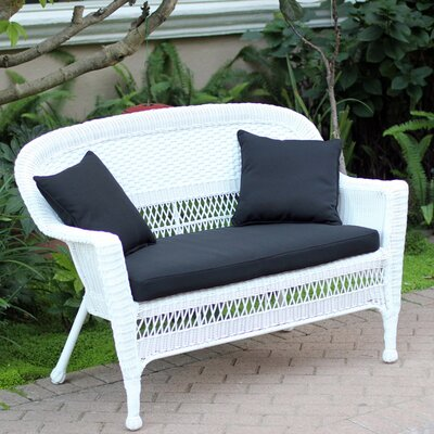 Loveseat with Cushions Fabric: Black, Finish: White