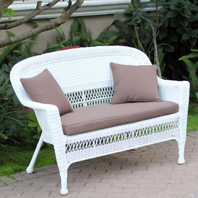 Loveseat with Cushions Fabric: Brown, Finish: White