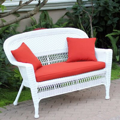Loveseat with Cushions Fabric: Red Orange, Finish: White