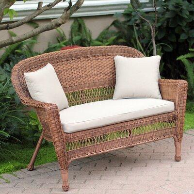 Loveseat with Cushions Fabric: Tan, Finish: Honey