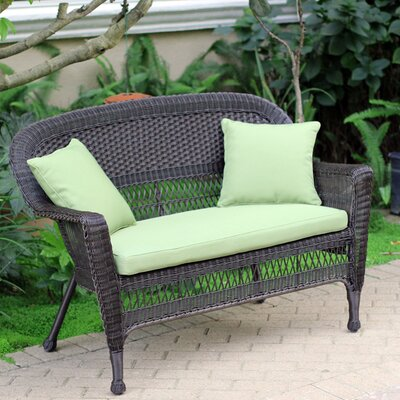 Loveseat with Cushions Finish: Espresso, Fabric: Green