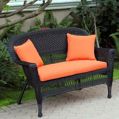 Loveseat with Cushions Fabric: Orange, Finish: Black