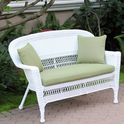 Loveseat with Cushions Fabric: Green, Finish: White