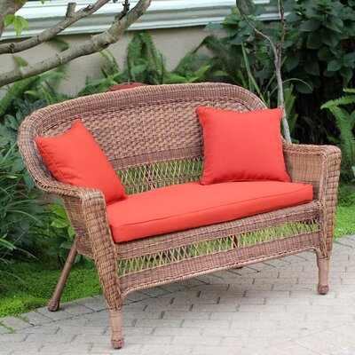 Loveseat with Cushions Fabric: Red Orange, Finish: Honey
