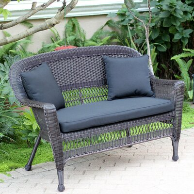Loveseat with Cushions Finish: Espresso, Fabric: Black