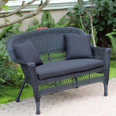 Loveseat with Cushions Fabric: Black, Finish: Black