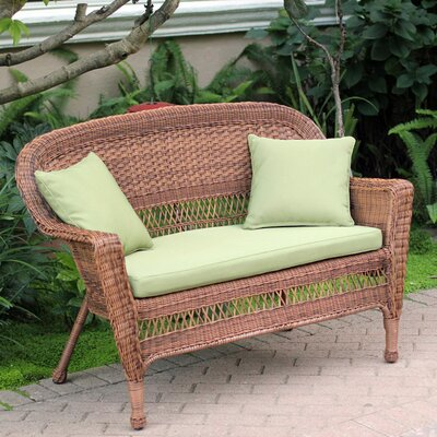 Loveseat with Cushions Fabric: Green, Finish: Honey