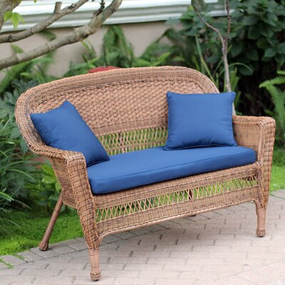 Loveseat with Cushions Fabric: Blue, Finish: Honey