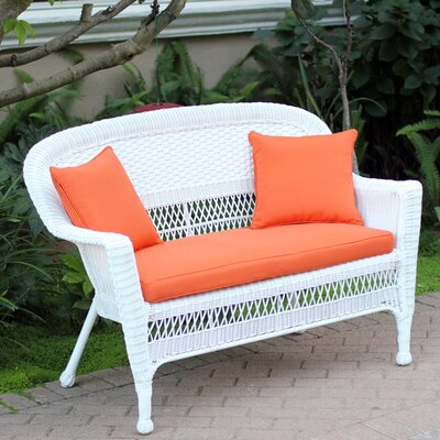 Loveseat with Cushions Fabric: Orange, Finish: White