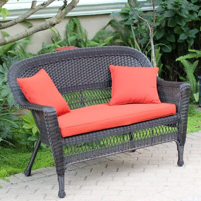 Loveseat with Cushions Finish: Espresso, Fabric: Red Orange