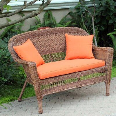 Loveseat with Cushions Fabric: Orange, Finish: Honey