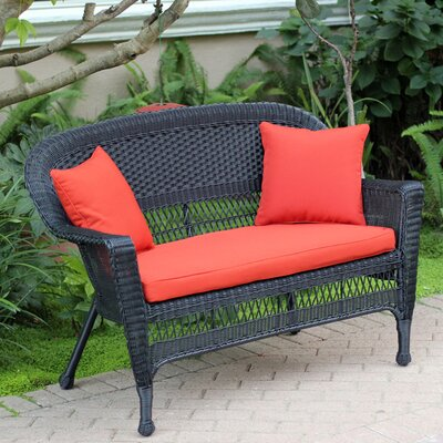 Loveseat with Cushions Fabric: Red Orange, Finish: Black