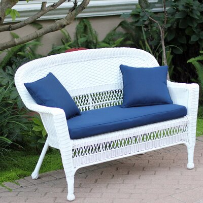 Loveseat with Cushions Fabric: Blue, Finish: White