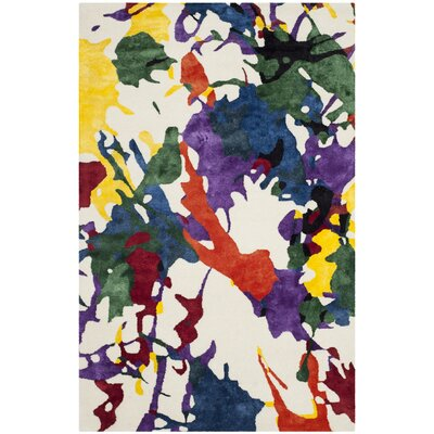 White Splatter Area Rug Rug Size: Runner 2'3