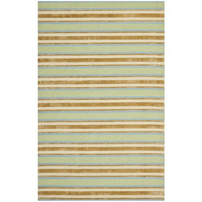 Orange / Green Striped Rug Rug Size: Runner 23 x 8