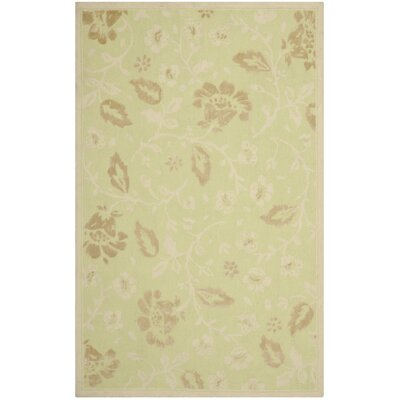 Green/Brown Floral Area Rug Rug Size: 4 x 6